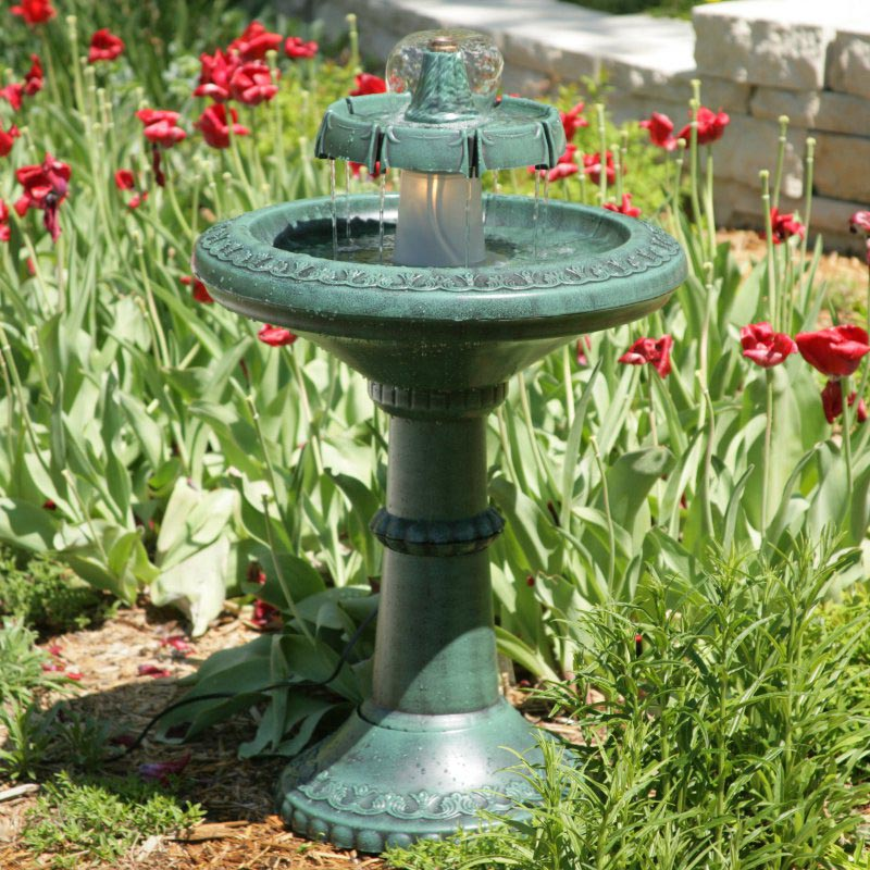 Alpine Avant Garden Three Tier Bird Bath Fountain