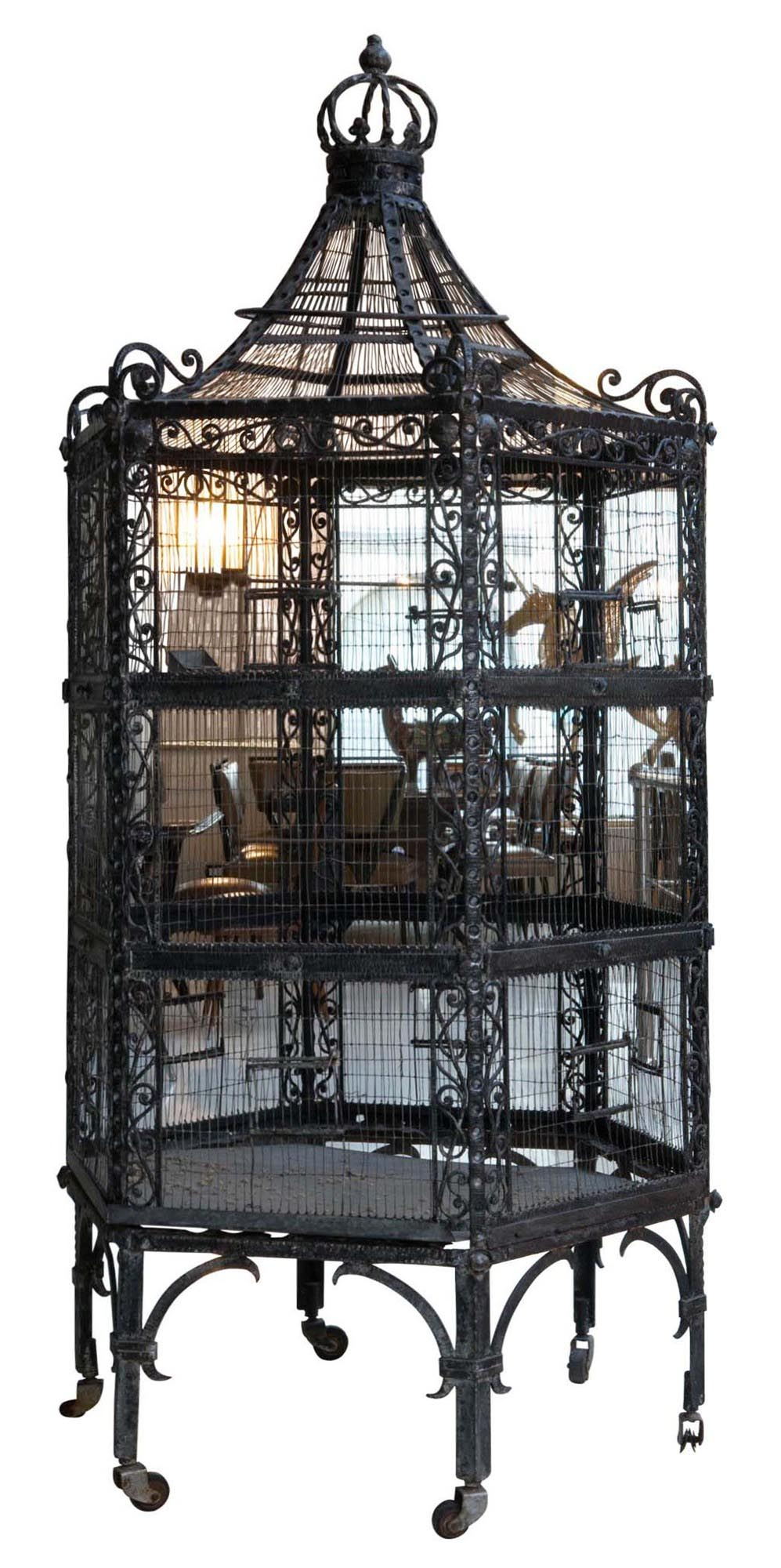 Antique Wrought Iron Bird Cage