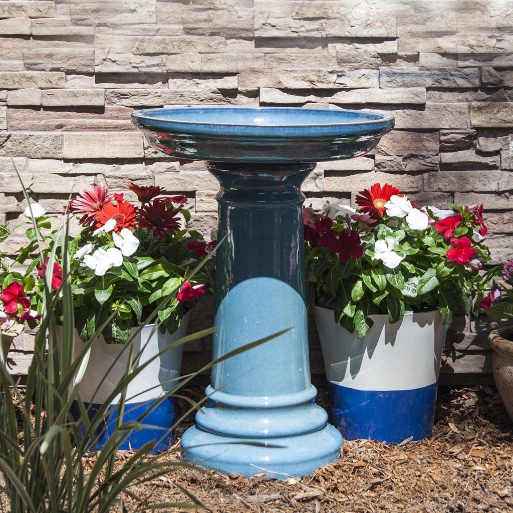Bird Bath Blue Ceramic