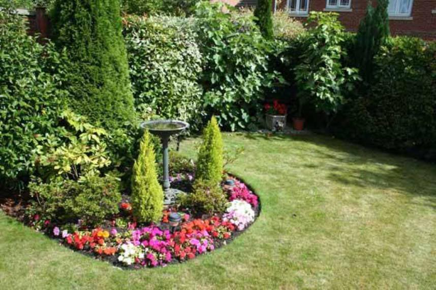 Image result for bird bath in flower garden