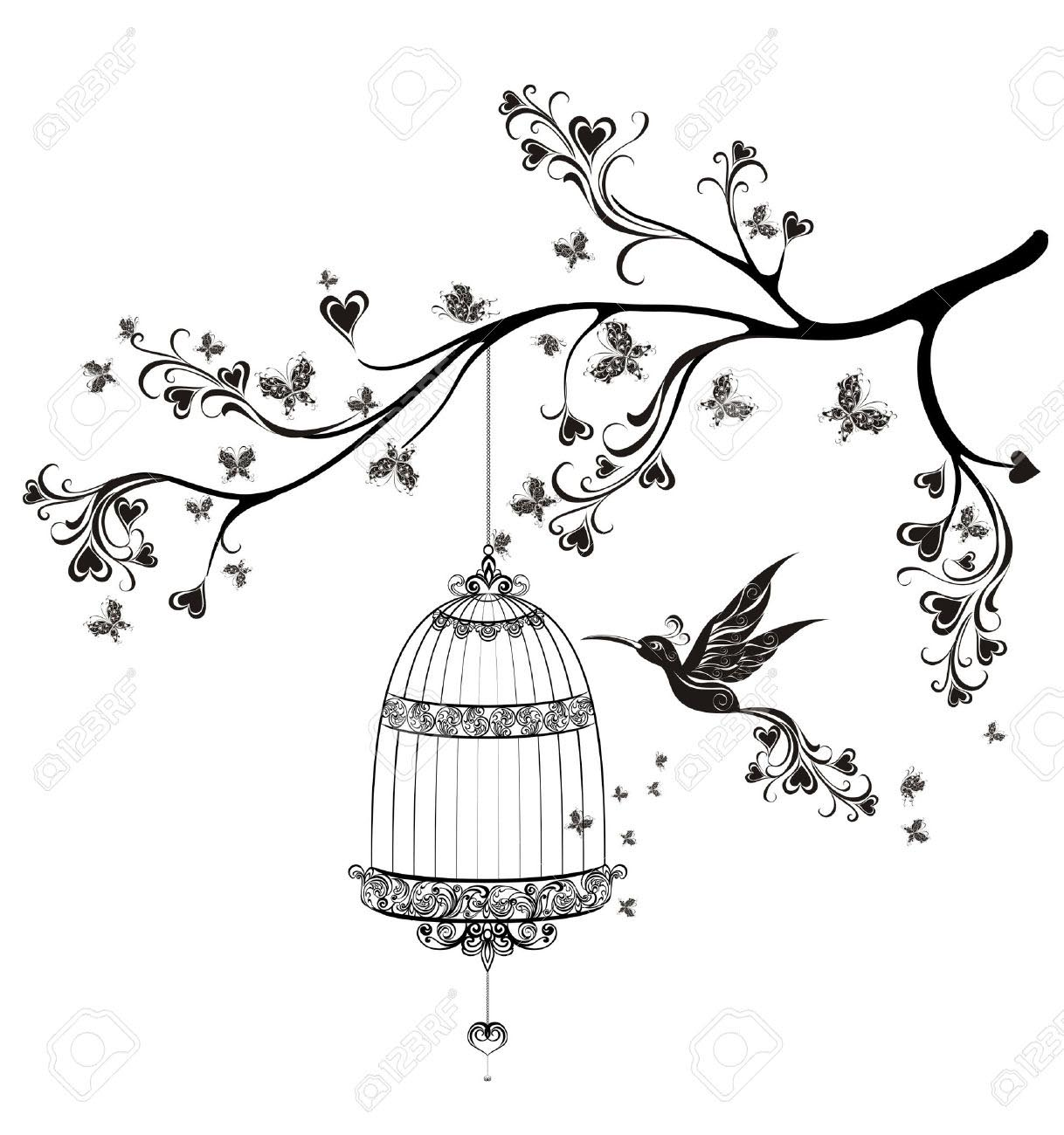 Bird Flying Out of Cage-Drawing