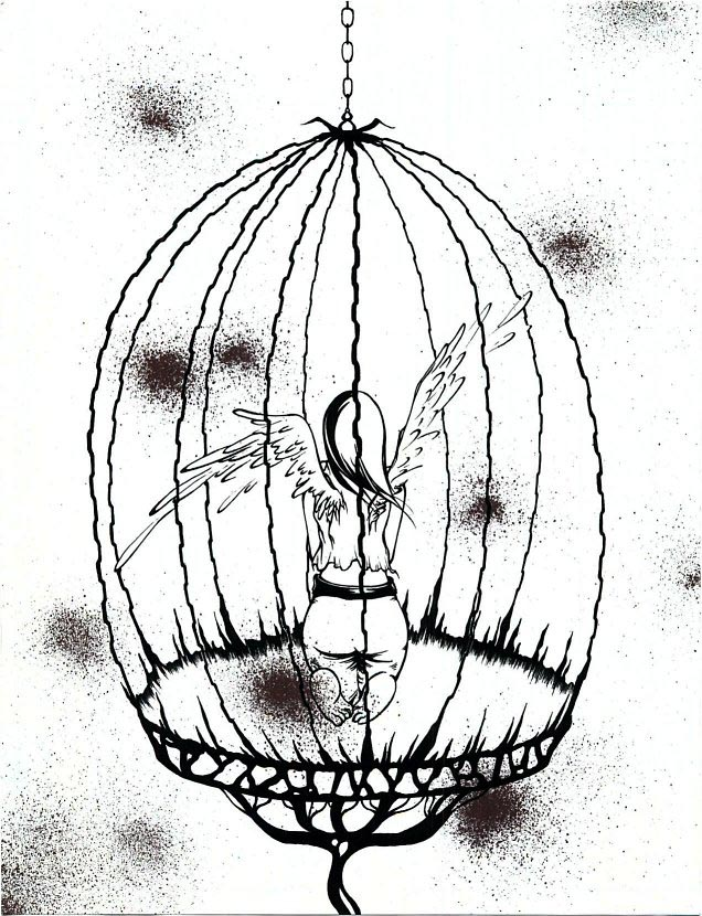 Bird in Cage Drawing