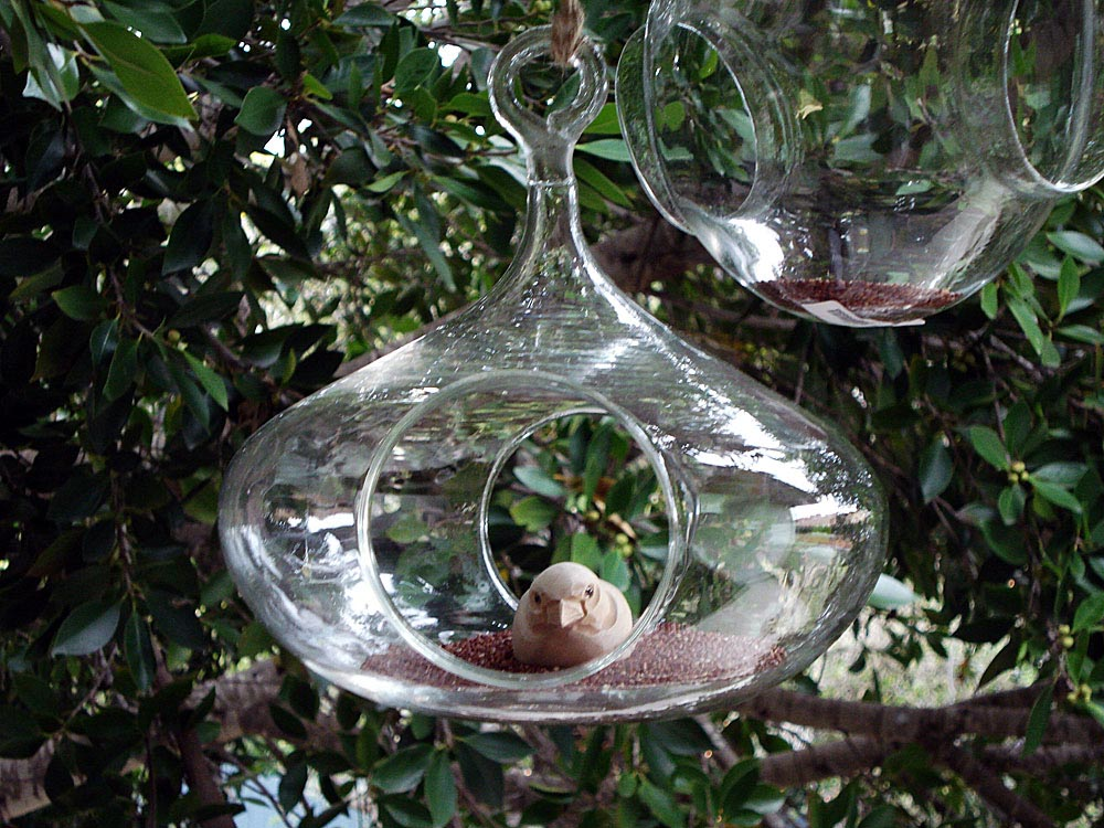 Blown Glass Bird Feeder
