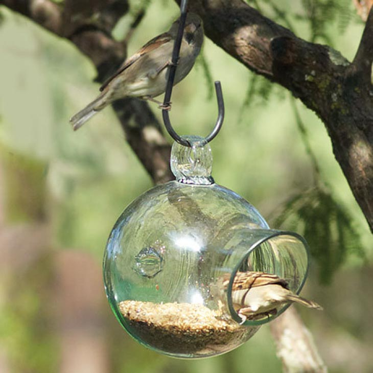 Blown Glass Bird Feeders
