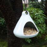 Blue Ceramic Bird Feeder