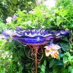 Blue Glass Bird Bath