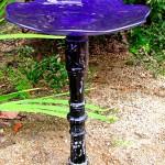 Blue Glass Bird Bath Bowl