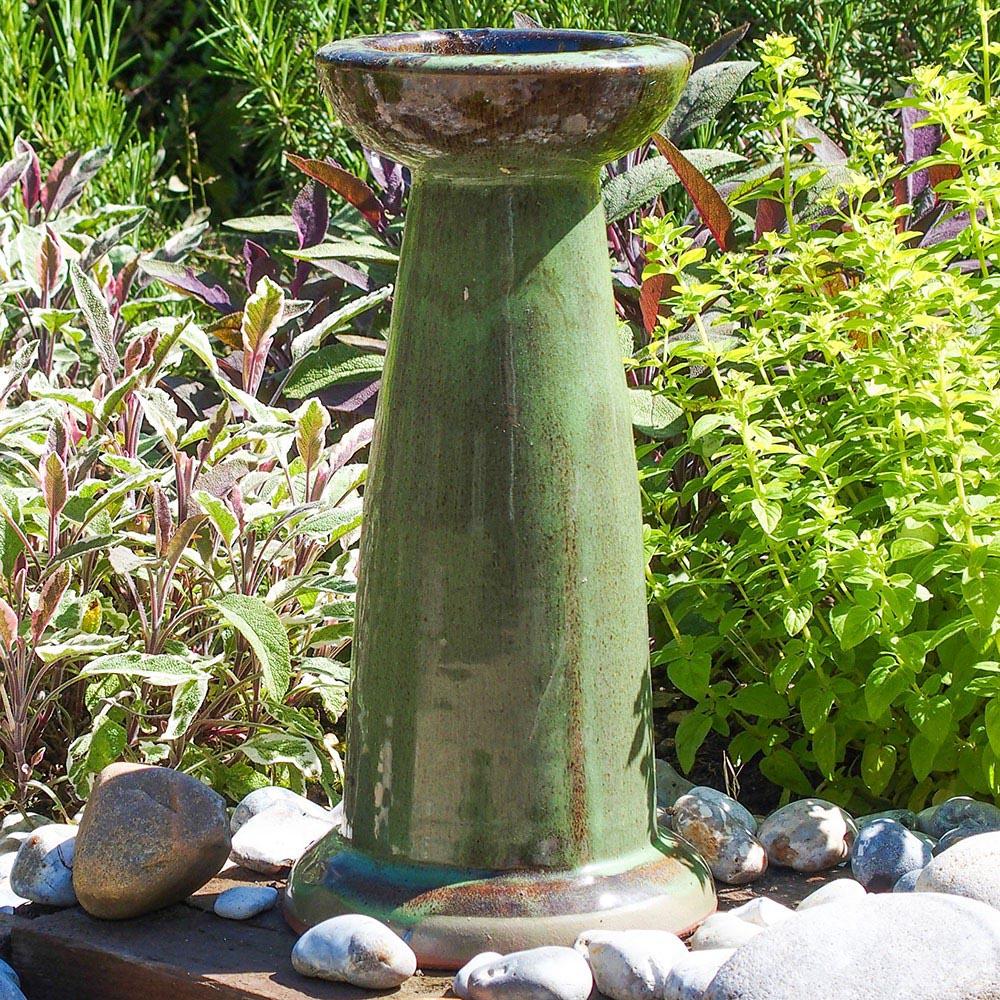 Ceramic Bird Bath with Stand