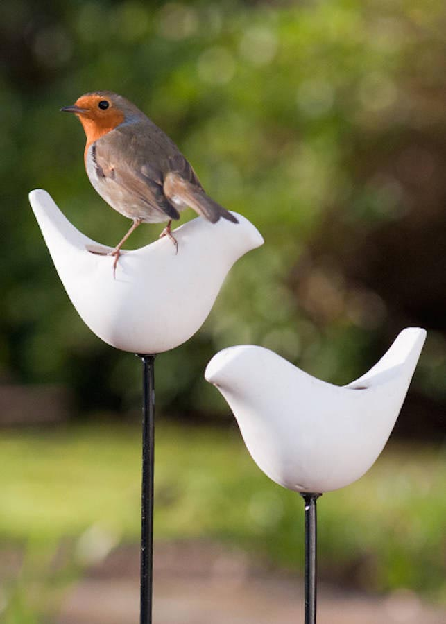 Ceramic Bird Feeder on Stick