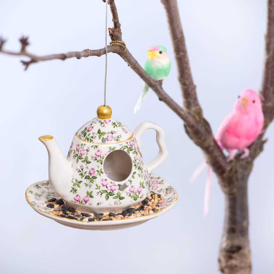 Ceramic Teapot Bird Feeder