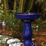 Cobalt Blue Ceramic Bird Bath