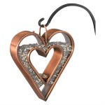 Copper Heart Shaped Bird Feeder