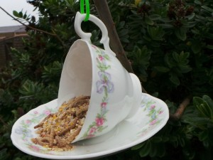 Cup and Saucer Bird Feeder DIY
