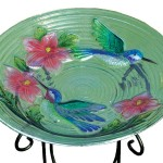 Evergreen Glass Bird Bath Bowls