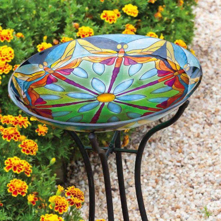 Glass Bird Bath Bowl