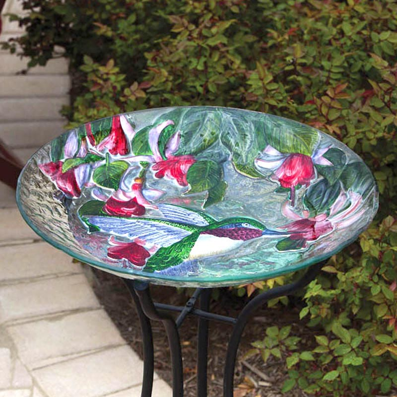 Glass Bird Bath Hummingbird