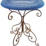 Glass Bird Bath Metal Stand