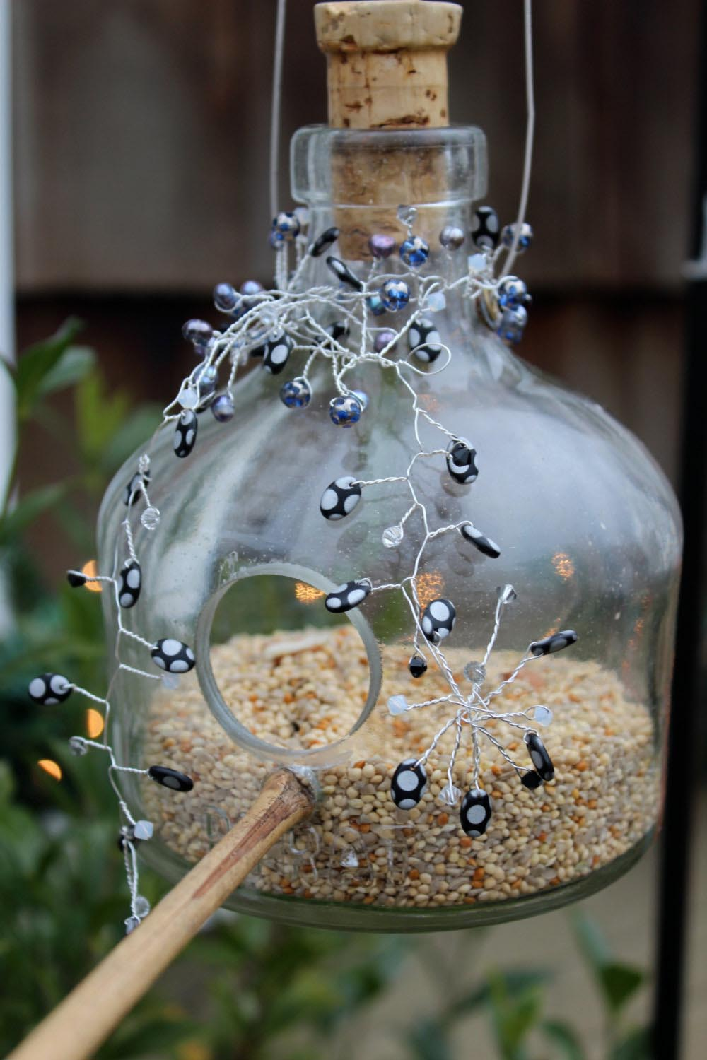 Glass Bottle Bird Feeders