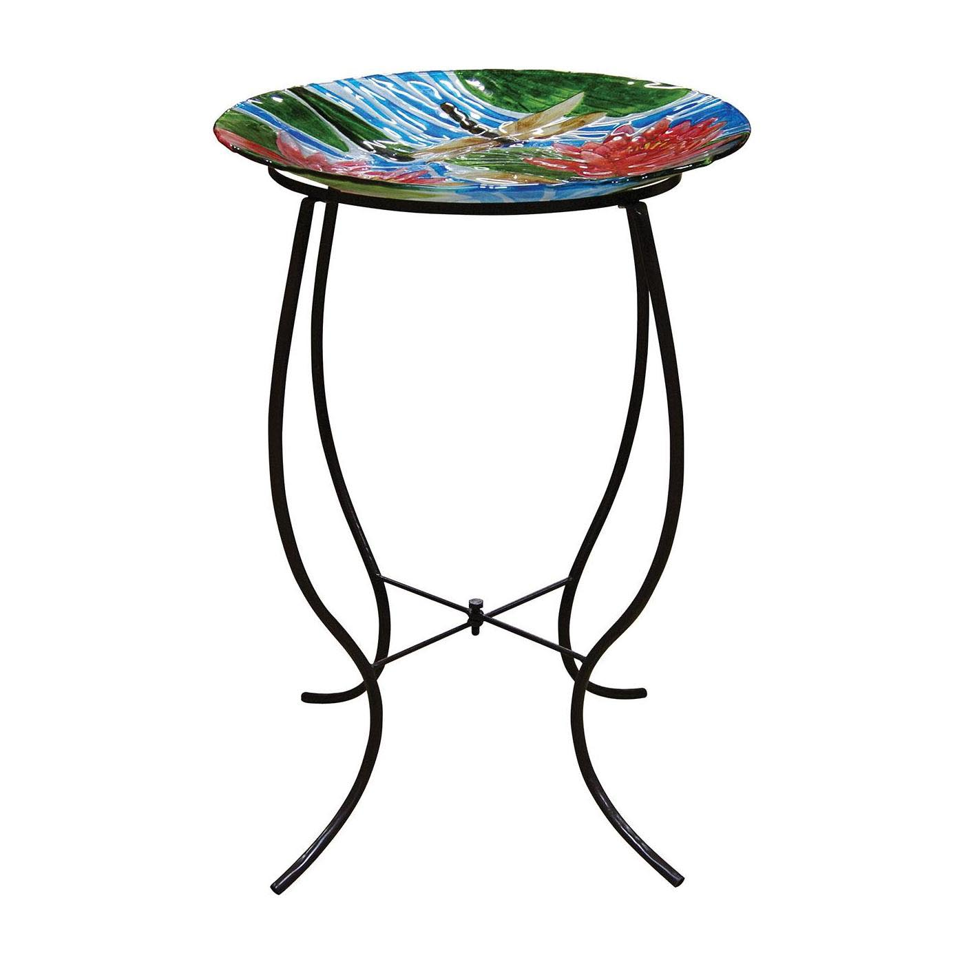 Glass Bowl Bird Bath with Stand