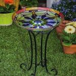 Glass Hummingbird Bird Bath