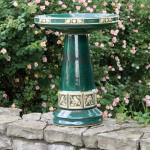 Green Ceramic Bird Bath