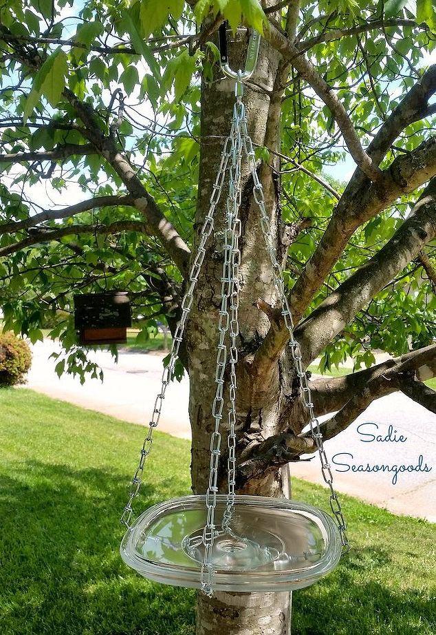 Hanging Glass Bird Bath Outdoor Living
