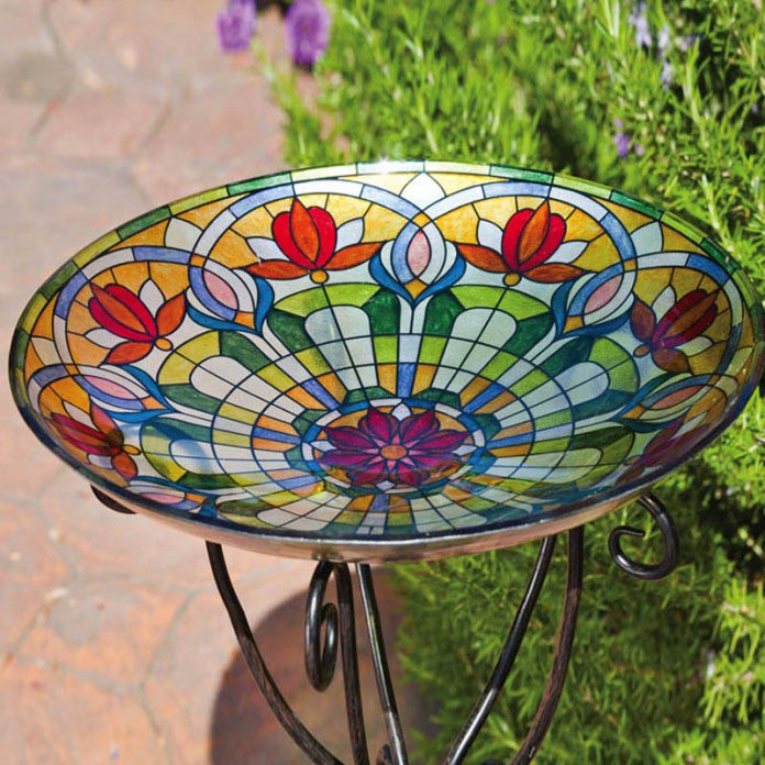 Hummingbird Bird Bath Stained Glass