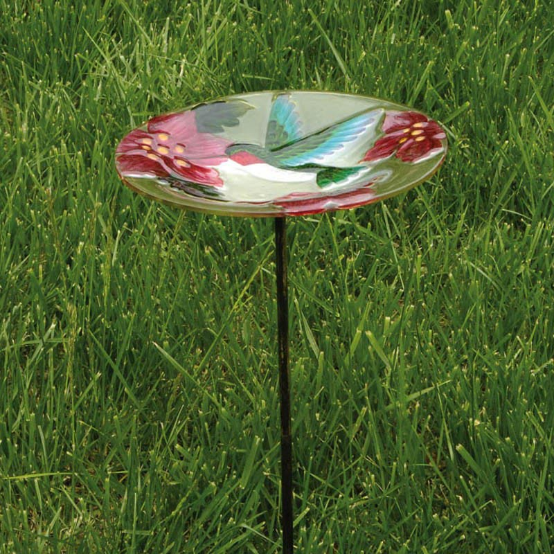 Hummingbird Glass Bird Bath