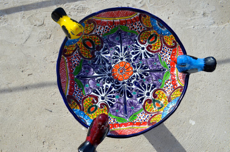Mexican Ceramic Bird Bath