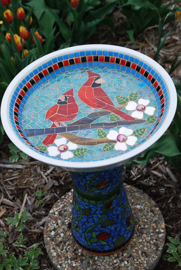 Mosaic Bird Bath DIY