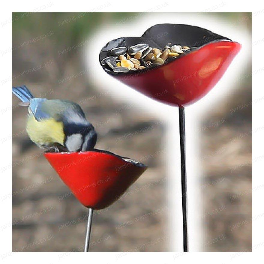 Red Ceramic Bird Bath