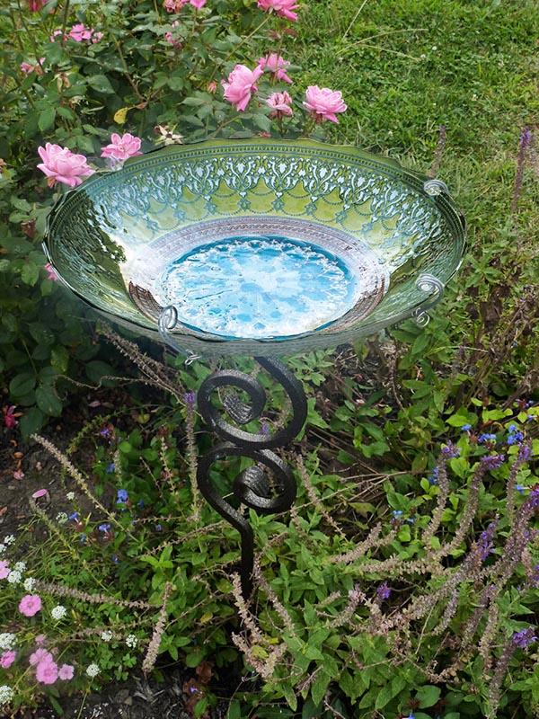 Small Glass Bird Bath