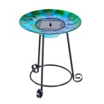 Solar Stained Glass Bird Bath