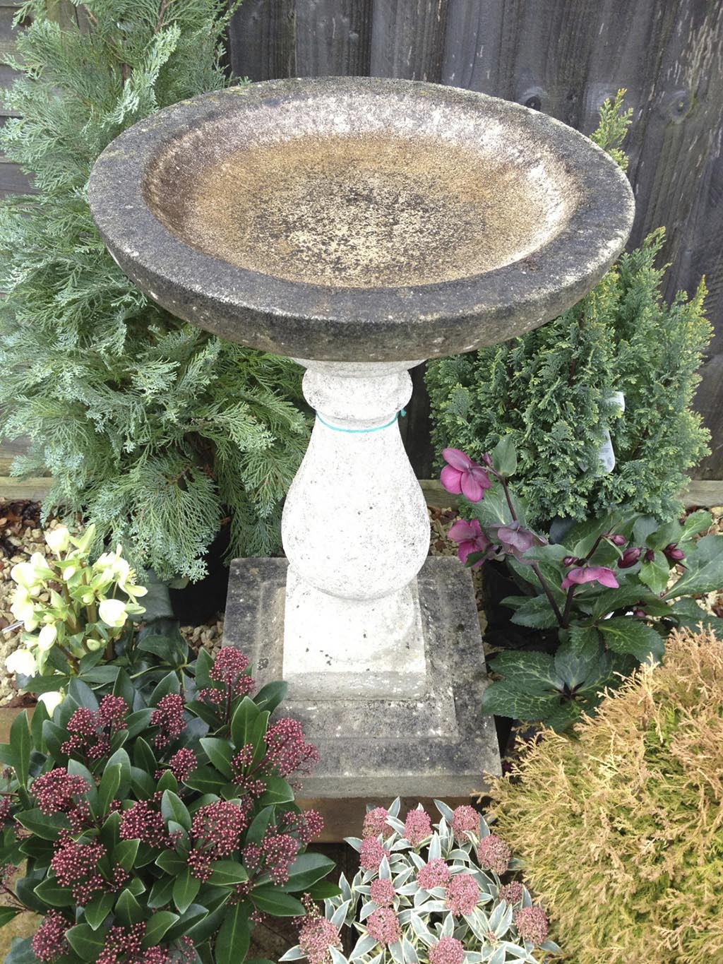 Stone Bird Bath with Sundial
