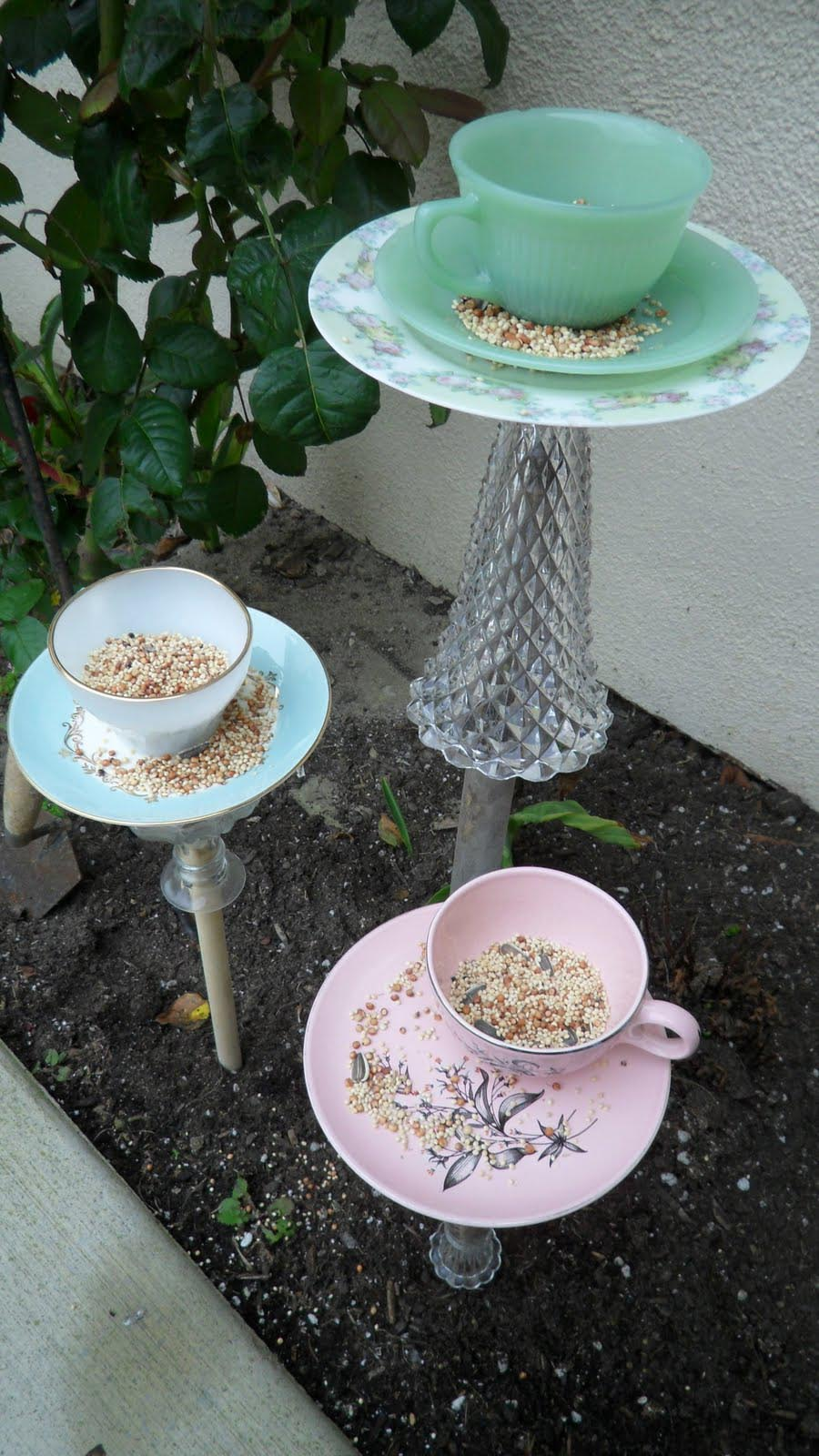 Teacup Bird Feeders Handmade