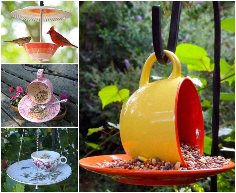 Teacup Bird Feeders Homemade