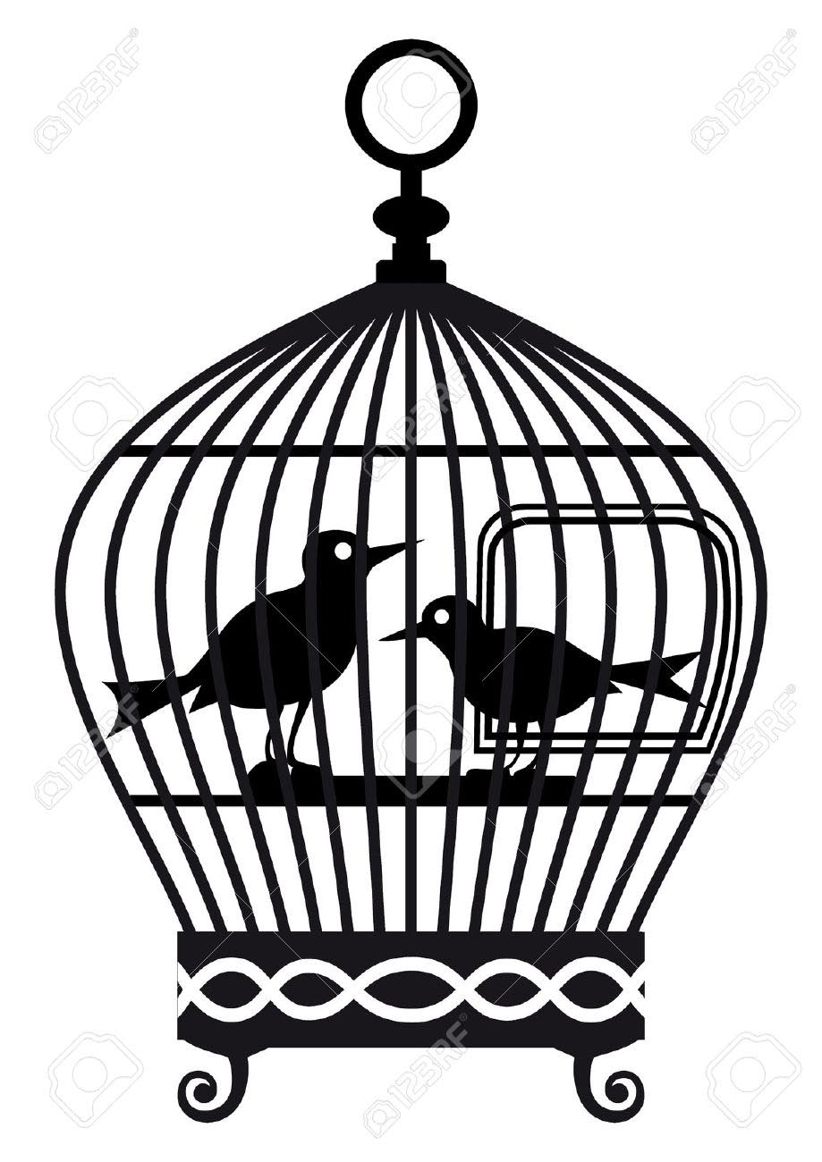 Vintage Bird Cage Drawing