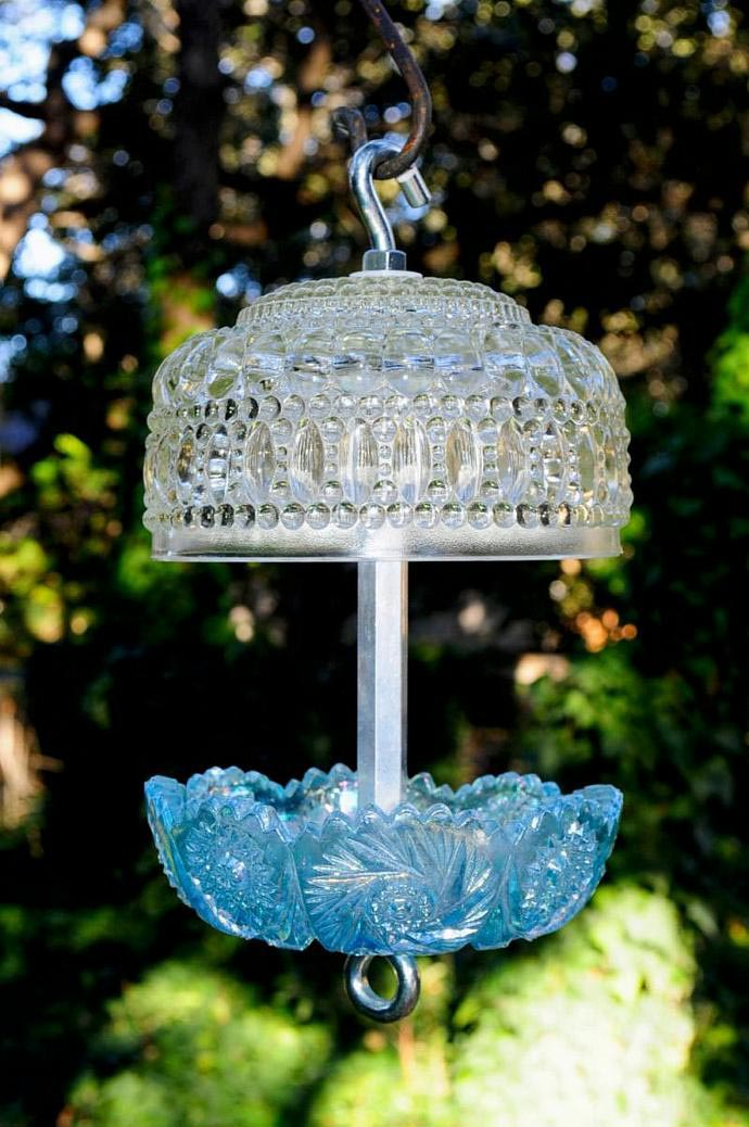 Vintage Glass Bird Feeders