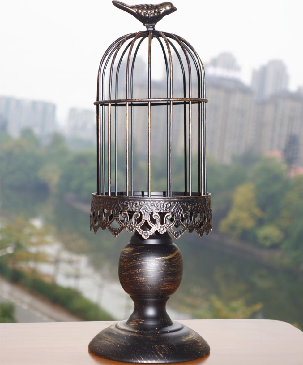 Vintage Wrought Iron Bird Cage