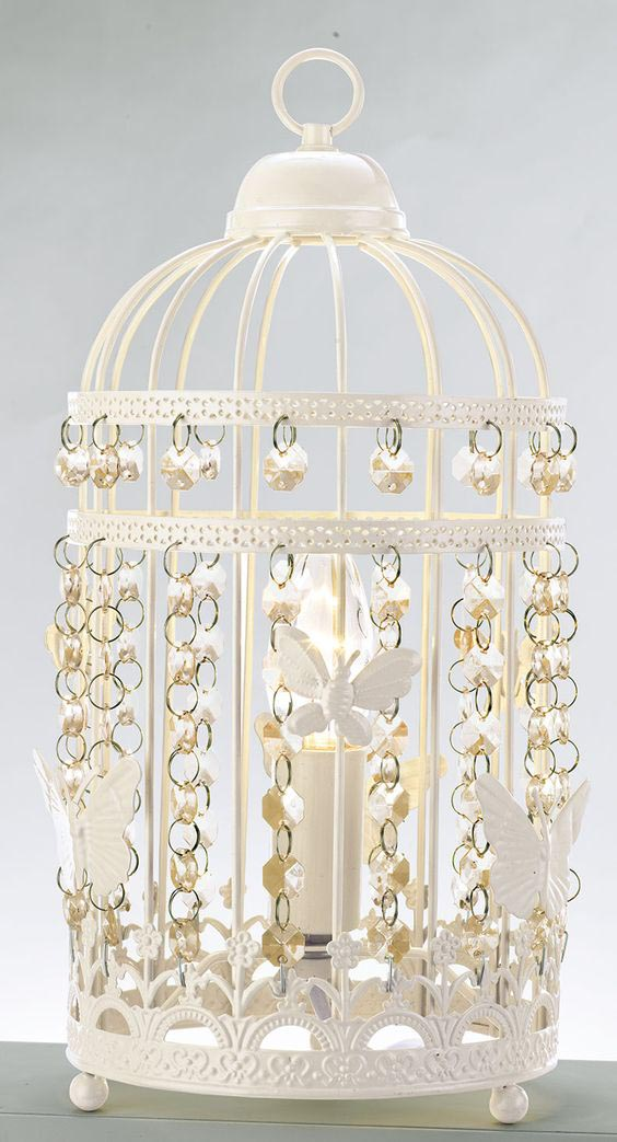 White Bird Cage Lamp