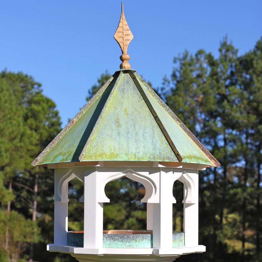 White Bird Feeder with Copper Roof