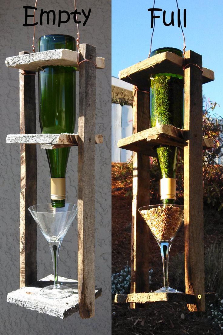 Wine Glass Bird Feeders