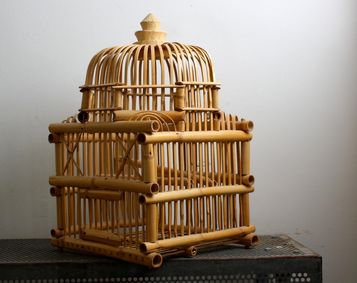 Wooden Bamboo Rattan Bird Cage