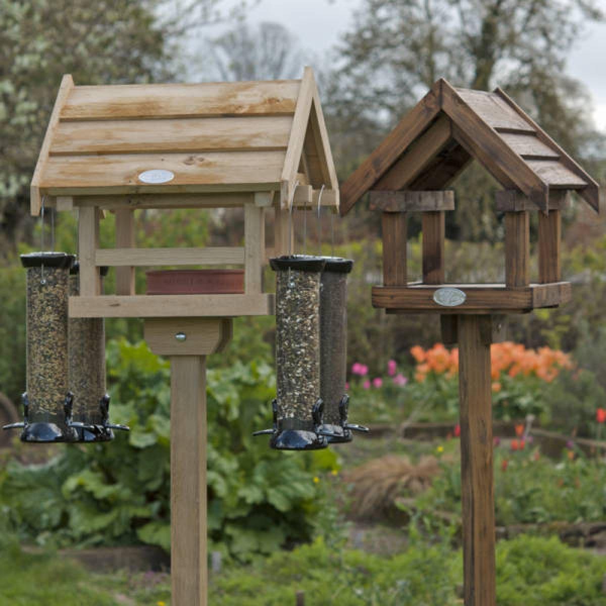 Wooden Bird Feeder Station