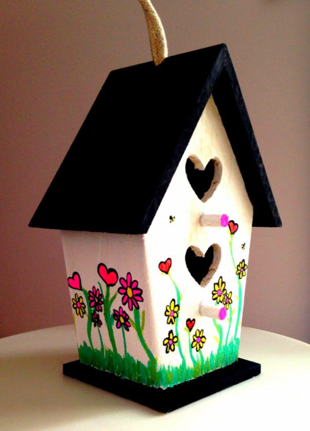 Painting Wooden Bird Houses Birdcage Design Ideas